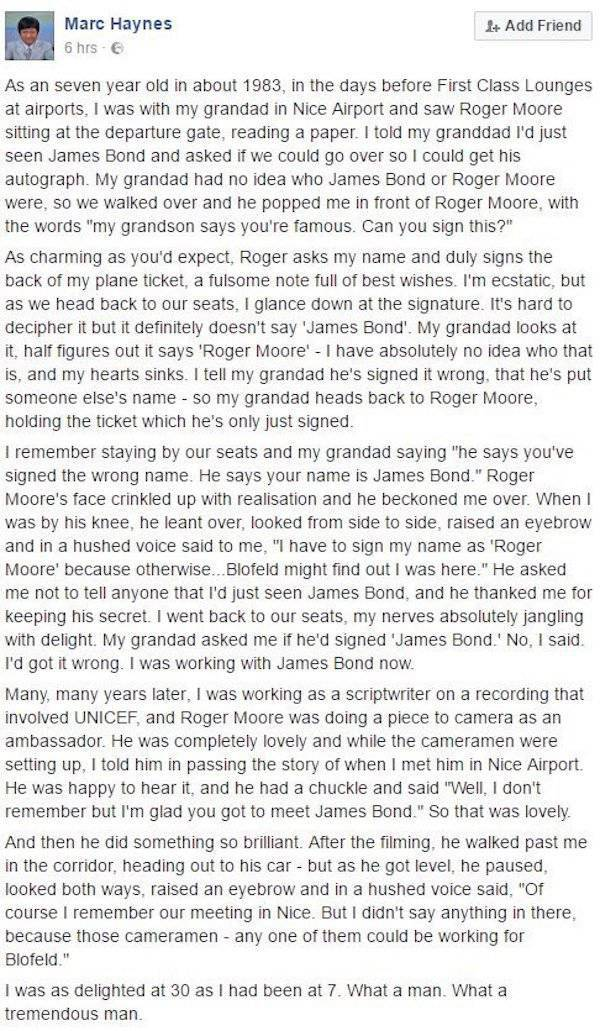 An Amazing Story About The Late Sir Roger Moore (2 pics)