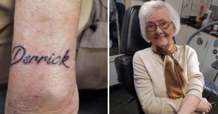 Woman Gets Her First Tattoo At 82 Years Old (2 pics)