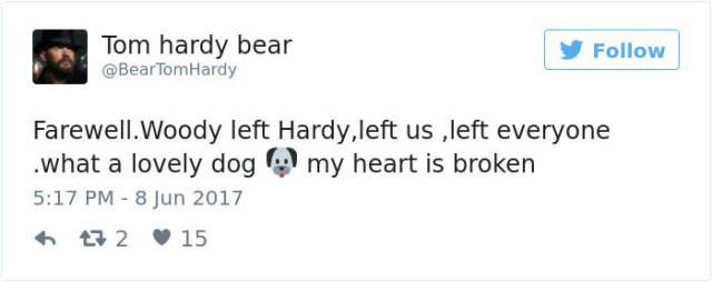 Tom Hardy Touched The Internet's Soul With A Eulogy He For His Dog (15 pics)