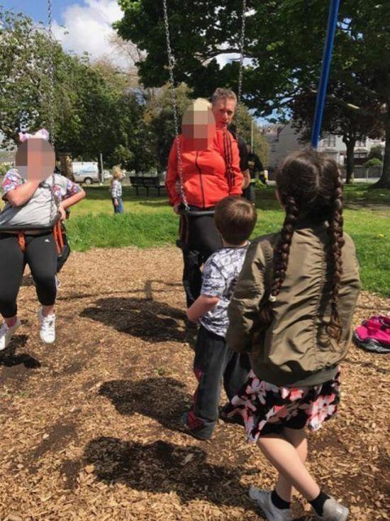 Aunt And Niece Get Stuck In Children's Swing (4 pics)