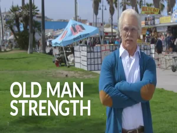 Bodybuilder Disguised As Old Man Pumps Up The Crowd