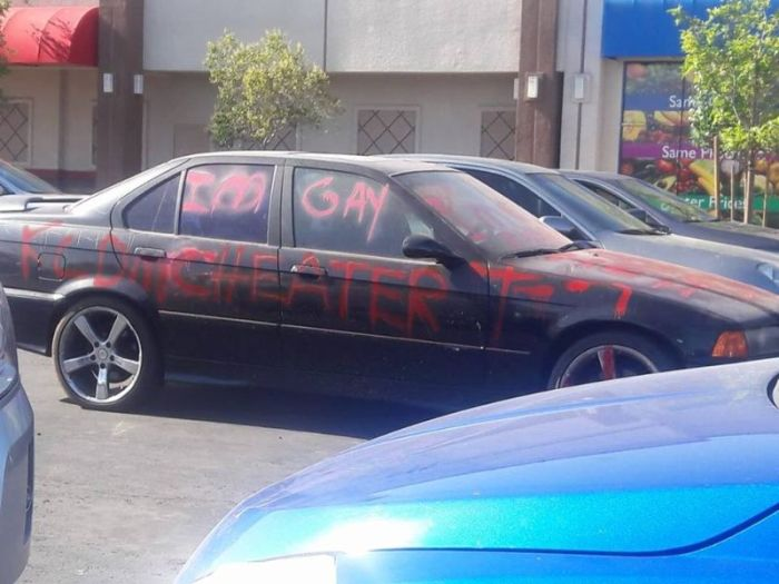 Scorned Wife Uses Car To Call Out Cheating Husband (3 pics)