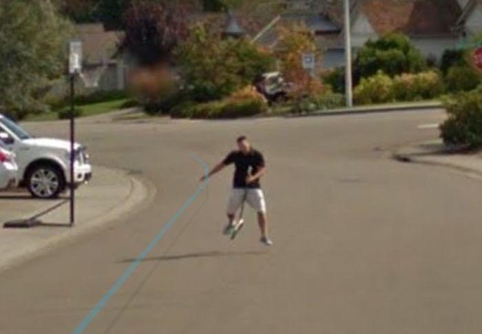 Man Pursues Google Street View Car On A Broom (4 pics)