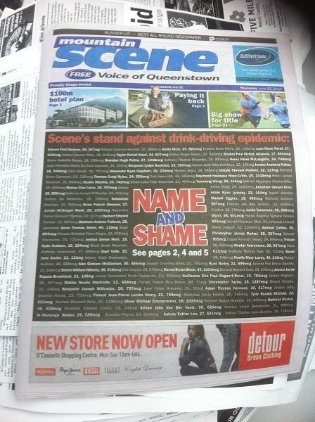 New Zealand Paper Shames Drunk Drivers (2 pics)