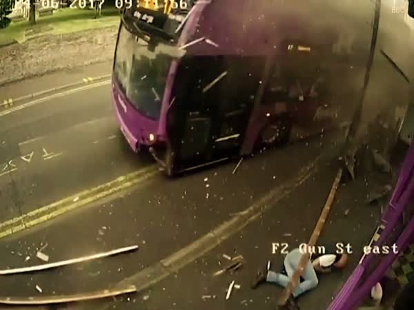 Bus Accident Smashes Into A Man Who Then Gets Up To