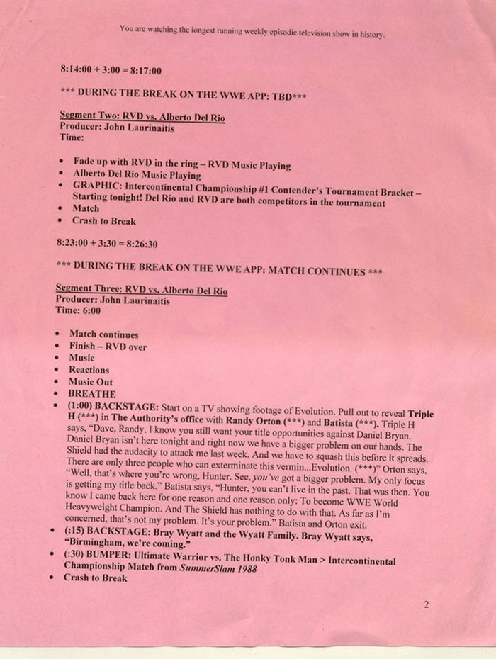 Here's What A Pro Wrestling Script Looks Like (2 pics)