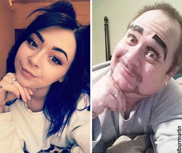 Dad Trolls Daughter By Recreating Racy Selfies (16 pics)