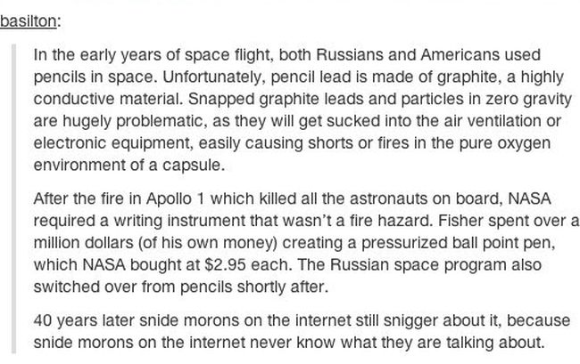 Why Pencils Aren't Used In Space (2 pics)