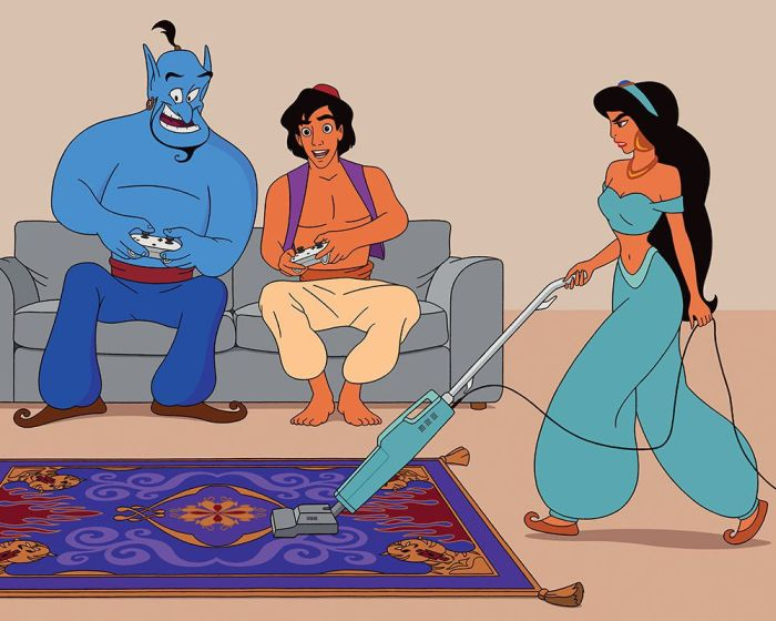 Illustrator Uses A Modern Twist To Update Disney Movies (10 pics)