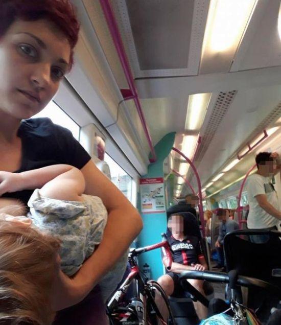 Breastfeeding Mom Shames Commuters On Facebook (2 pics)