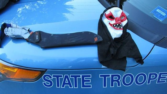 Man With Clown Mask And Machete Arrested In Maine (4 pics)