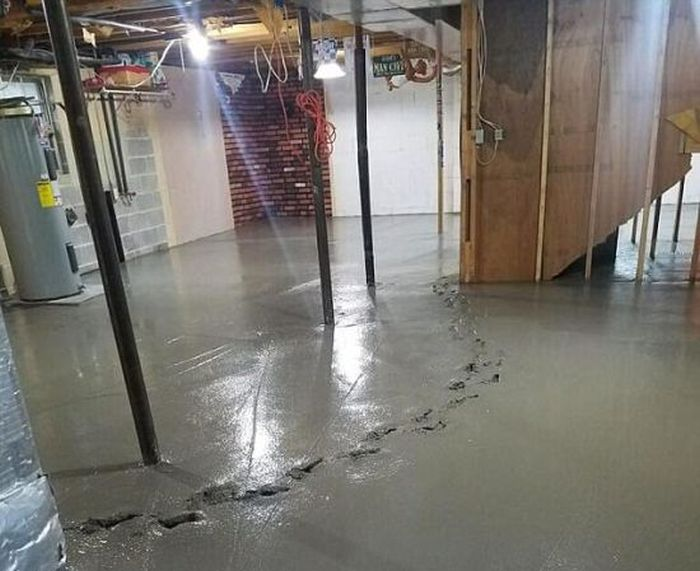Toddler Walks Through Wet Concrete In Family Home (3 pics)