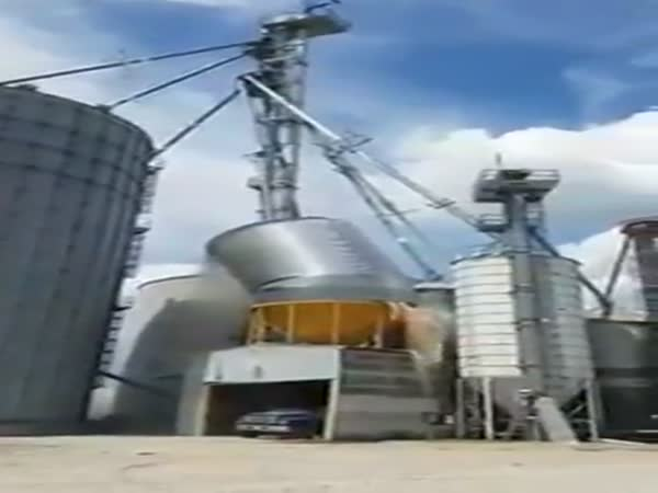 Silo Filled With Corn Explodes Upon Collapse