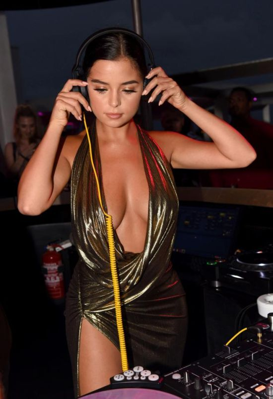 Demi Rose Shows Off Her Bust In The DJ Booth At Cape Verde (7 pics)