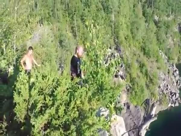Lunatic Swan Dives Off A 91 Foot Cliff