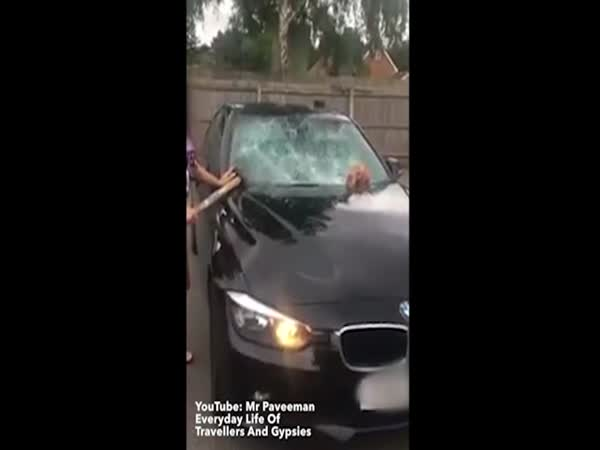 Raging Traveller Woman Smashes Up Cheating Husbands BMW