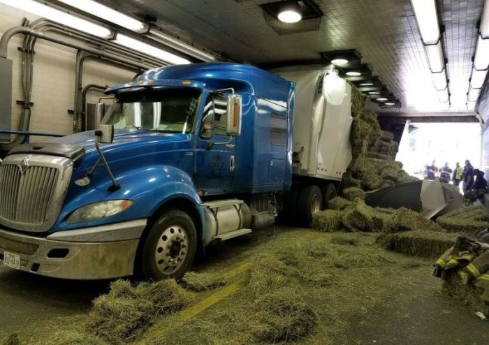Truck Loaded With Hay Gets Stuck In A Tunnel (4 pics)