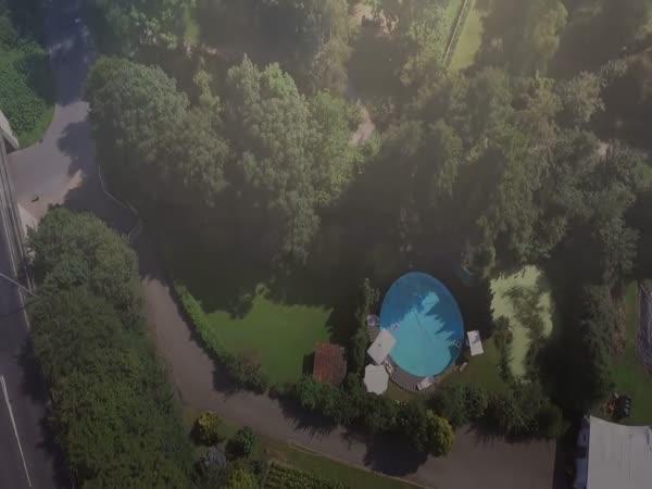 Drone Spy Woman On Pool Goes Terribly Wrong - Phantom 4 Crash