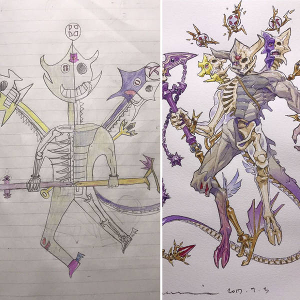 Dad Turns Son's Drawings Into Epic Anime Characters (22 pics)