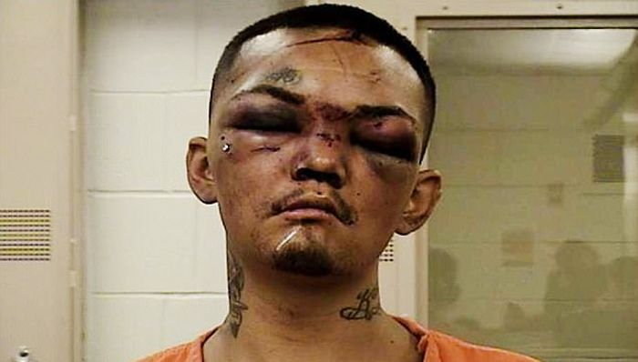 Mugshot Of A Man Who Got Beat Up After Trying To Steal A Car (2 pics)