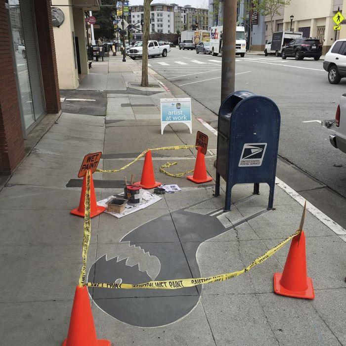 Street Artist Confuses People By Painting Fake Shadows (19 pics)