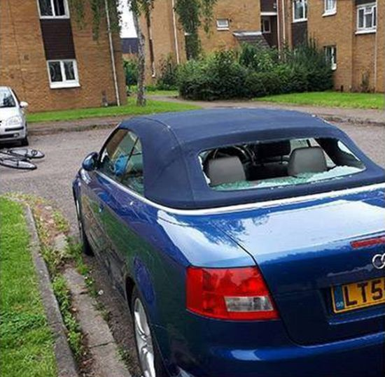 Woman Destroys Car To Get Revenge On A Cheater (3 pics)