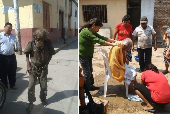 Neighbors Help Clean Up A Homeless Person (2 pics)