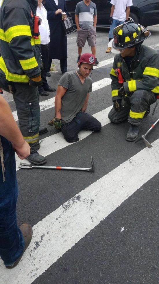 Guy Gets His Foot Swallowed By Pedestrian Crossing (3 pics)