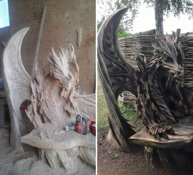 This Breathtaking Dragon Bench Was Carved Using A Chainsaw (6 pics)