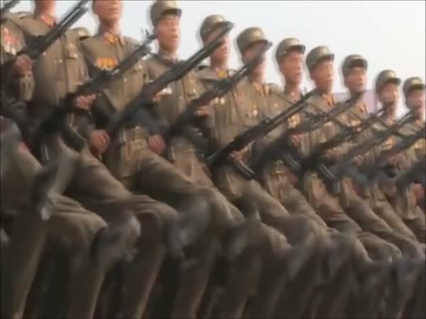 Bee Gees Staying Alive Music Over The North Korean Army Marching