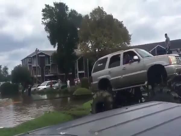 Monster Trucks Roll in to Help in Flood Hit Houston