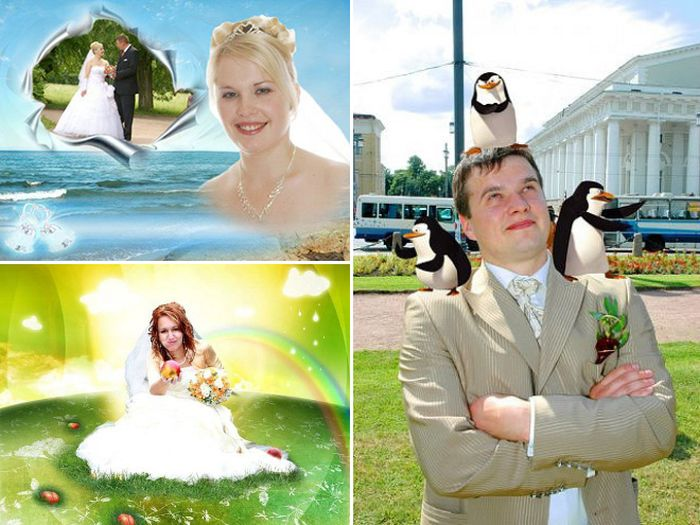 Awfully Photoshopped Russian Wedding Pictures (21 pics)