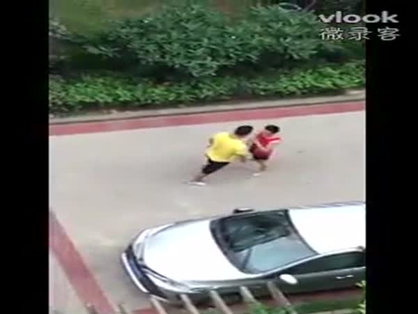 Chinese Guys Fighting For The Parking Space
