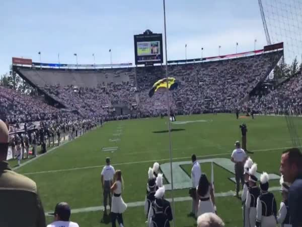 Parachute Jumper Crash Lands Into a Wall at BYU-Wisconsin Game