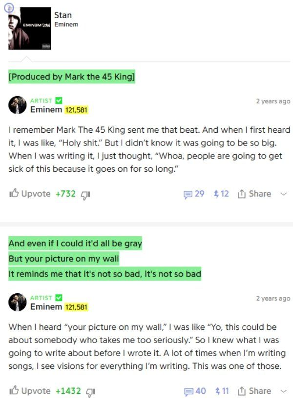 Eminem Takes You Behind The Scenes With Interesting Song Annotations (20 pics)