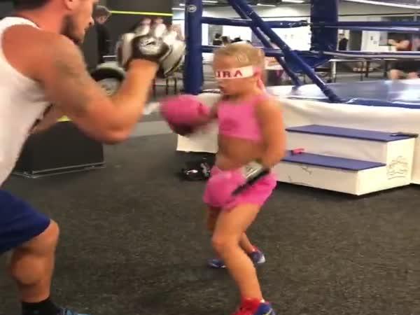 Training Blindfolded Boxing Amazing Talent Girl