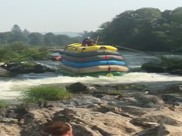What You've Never Seen a Guy Go Down a River in 6 Rafts Before