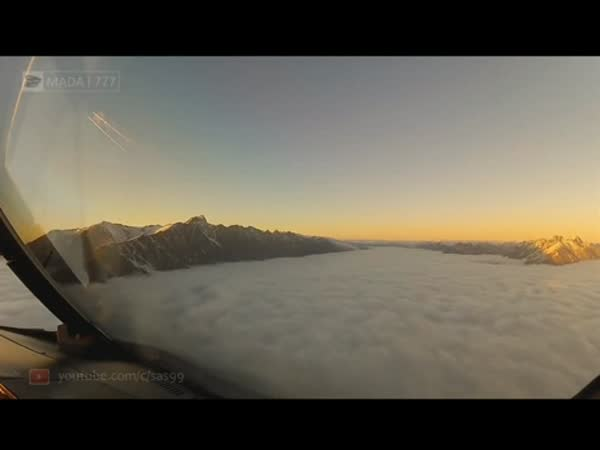 Landing Through The Clouds (Cockpit View)