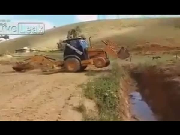 Excavator Crossing a River