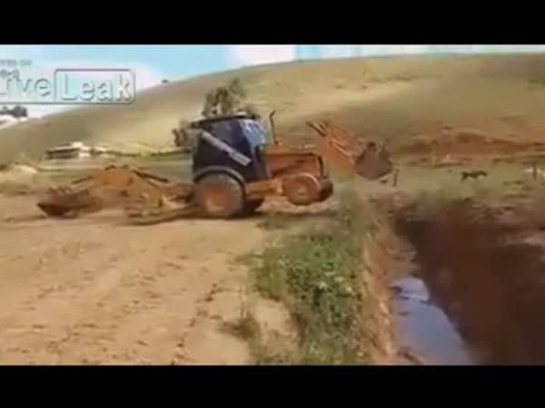 Excavator Crossing a River