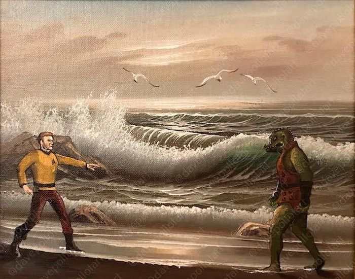 Artist Transforms Thrift Store Paintings With Pop Culture References (26 pics)