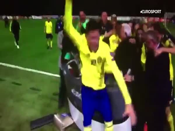 Sweden Players Mob TV Presenters In Manic Celebrations After Securing World Cup Qualification