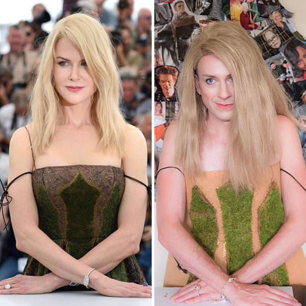 This Guy Nails Celebrity Outfits With The Stuff He Has At Home (24 pics)