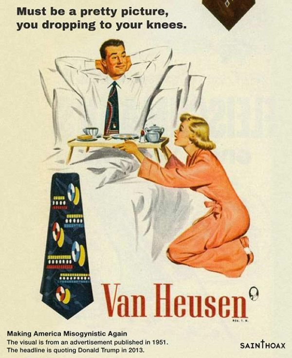 Sexist Donald Trump Quotes as Headlines on Vintage Ads (11 pics)