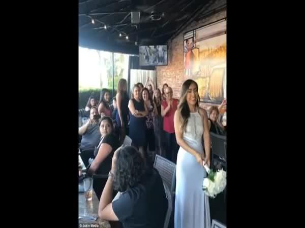 Bride Tosses Bouquet Into Ceiling Fan