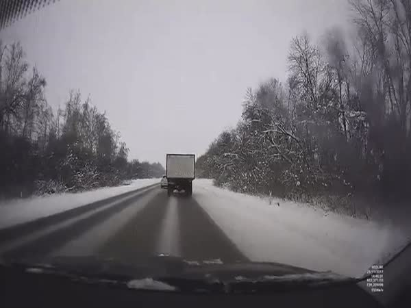 Lucky Driver On Snowy Road