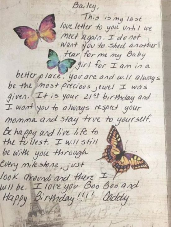 Girl On Her 21st Birthday Receives One Last Card From Deceased Father (2 pics)