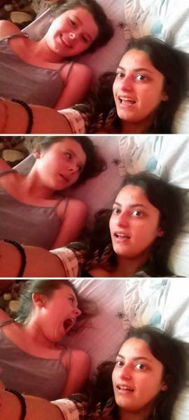 There Is Something Happening In These Selfies (17 pics)