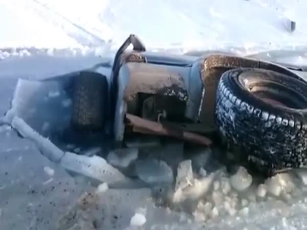 SUV Falls Through Ice