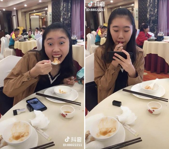 "Women In China Are Sharing This ""Hack"" For How To Eat With Lipstick On (8 pics)"